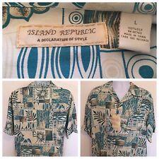 NEW ISLAND REPUBLIC Men's Large L Hawaiian 100% Silk Shirt Floral Geometric