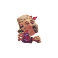 Curly Haired Blonde Retro Pinup Girl Bomber Art Vinyl Adhesive Sticker Decal