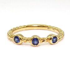 David Yurman 18K Yellow Gold Ring Blue Sapphire Cable Stacking Size 6.5 LJB3