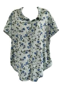 LuLaRoe Women's Button Up Charlie Floral Top, Short Sleeve, Size M