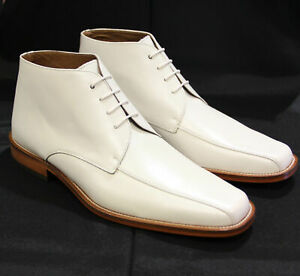 New Handmade Men,s Chukka White Boots, Men Ankle Boots, Men Leather Boots
