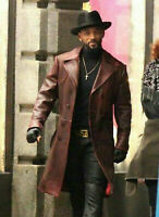 Will Smith Long Trench Coat Brown Distressed Mens Real Leather Jacket