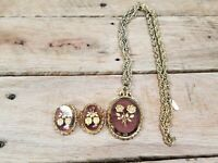 Vintage Rose Roses Pendant Necklace Whiting Davis Co Gold Tone Chain & earrings