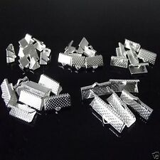 100 x Silver Plated Ribbon End Clamps Clasp Mixed Sizes