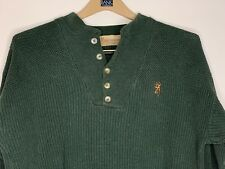 Mens Browning Henley Style Knit Sweater Size Large 100% Cotton Embroidered Logo
