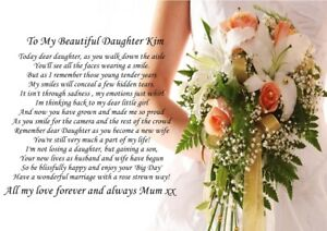 2 X A4 PERSONALISED POEMS TO DAUGHTER  ON WEDDING DAY FROM PARENTS MUM AND DAD