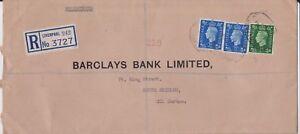 (K114-17) 1940s GB WWII 5 1/2d REG no.3727 Barclay's bank wax seals (Q)
