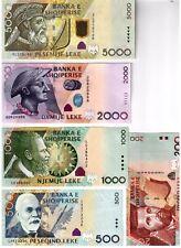 Full Set Albania Paper Money, Banknotes: 200, 500, 1000, 2000, 5000 leke. UNC