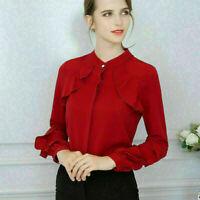 Fashion Summer Women Casual Chiffon Long Sleeve Ladies Shirt Loose Tops Blouse F