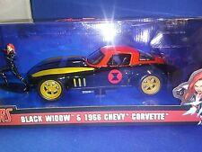 1966 Chevrolet Corvette & Black Widow Figure Marvel 1/24 Diecast Car Jada 31749