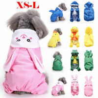 Pet Dog Rain Coat Outdoor Clothes Outfit Jacket Waterproof Hooded Raincoat Puppy