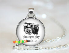 Camera Photography Junkie dome Tibet silver Chain Pendant Necklace wholesale