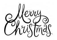 Merry Christmas Freehand Small Unmounted Rubber Stamp by Stamp Addicts