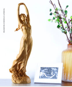 Wooden Female Sculpture Handmade Boxwood Carving Fairy Miniature Statue