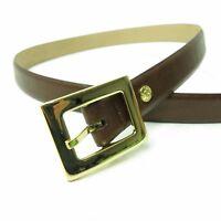 Vtg 90's AK Anne Klein Brown Faux Leather Minimalist Belt Women's SZ L
