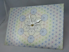 Metatron Cube within Flower of Life Wall Clock, Silent Non-Tick Swoosh Style