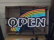 """New Rainbow Open Neon Light Sign 24""""x20"""" Lamp Poster Real Glass Beer Bar"""