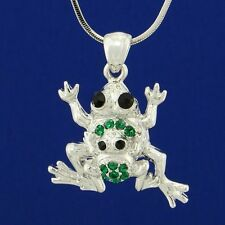 W Swarovski Crystal Frog Mother Baby Forest Jungle Dark Green Necklace Pendant