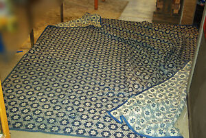 1850's American indigo dyed and white Coverlet Jacquard BIG 11 feet x 9 feet