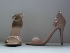 SM NEW YORK NUDE PATENTED BAND ANKLE STRAP HIGH HEEL OPEN TOE SHOE NEUTRAL 7 *