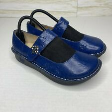 Alegria by PG LIte Paloma Leather Mary Jane 40 EU US 9.5/10  Blue Floral Accent