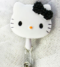 "Bling Hello Kitty 45mm / 1.9"" Retractable Reel ID Badge Holder_black 1pc"