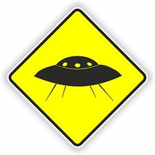 1x UFO warning sticker car bumper decal caution yellow alien U.F.O. space nasa