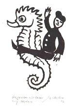 Seepferdchen mit Reiter - original Holzschnitt Franz Grickschat Nr 164 signiert