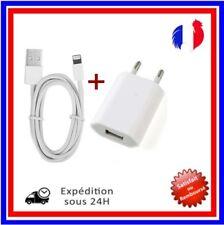KIT 2 EN 1 UNIVERSEL ADAPTATEUR PRISE SECTEUR MURAL+CÂBLE CHARGEUR  USB IPhone 5