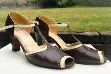 Vintage Brown & White Leather Peep Toe T-Strap Heels