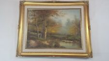 """M Hill Wooded Landscape Oil Canvas Painting In Frame Size 20.1/2"""" X 16.1/2"""""""