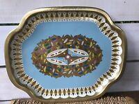 "Vintage English Baret Ware 16 1/4"" Metal Serving Tray 236 Leaves Gold Blues Pink"