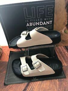 Birkenstock Birkis WHITE vegan rubber slides sandals SZ 45~