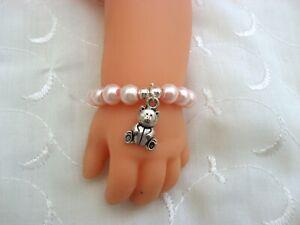 "DOLLS PINK TEDDY BEAR BRACELET FOR BABY BORN BABY ANNABELL REBORN OOAK 15-19"""