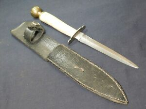 Vintage Bone Handle and Brass Fighting Knife Dagger Bowie w/Scbd