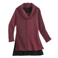 PARSLEY & SAGE Women's Cowl Neck Tunic Top, Reversible Marled Print Hi Low Hem
