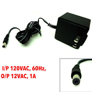 AC Adapter Power Supply 12 VAC-1Amp I/P 120VAC-60Hz, 18W, Out 12VAC-1A NEW