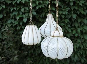 Midcentury Feldman Triple Pendant Italian Caged Latticino Glass Chandelier Lamp
