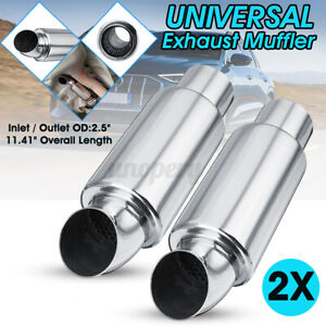 2x 2.5 Inch In/Out Car Exhaust Pipe Silencer Tip Sound Tuning Resonator
