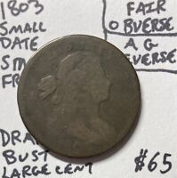 1803 1C Draped Bust Large Cent Small Date Small Fraction Fair Obverse AG Reverse