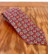 "euc Brooks Brothers Red Navy Gold Geometric Men's Silk Tie Necktie 59"" 3.5"""