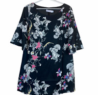 BNWT White Closet Black Floral 1/2 Sleeve Lined Shift Dress Size 10