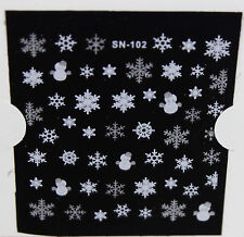 Christmas SILVER WHITE Snowman Glittery Snowflakes 3D Nail Art Stickers Decals