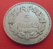 MONNAIE DE     5 FRANCS 1933 LAVRILLIER.     NICKEL