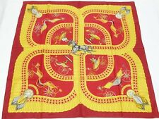 """Mint Authentic HERMES Voitures Paniers Silk Maroon Shawl Scarf 35"""" 90 cm"""