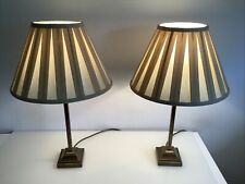 Pair Of Laura Ashley Brass Table Lamps With Dark Cream Shades Square Column