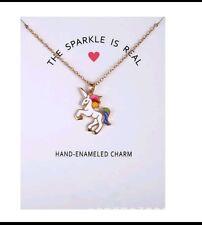 unicorn enamel necklace with card gold colour chain GW75