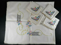 Vtg Embroidered Square Table Cloth w/ 4 Matching Napkins Floral Pink Blue Green