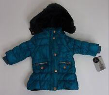 f3c6c790b London Fog Girls Infant 18M Turquoise Button Front Coat w Faux Fur Hood NEW
