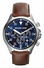 Michael Kors Gage 45 mm Stainless Steel Case Men's Brown Wrist Watch with Blue Dial - (MK8362)